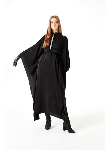 Mizalle Payet Şerit Detaylı Elbise Siyah